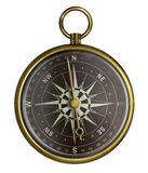 Old brass antique compass with dark face isolated. Brass antique compass with dark face isolated on white Stock Image