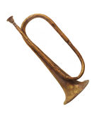 Old brass bugle isolated. Royalty Free Stock Photography