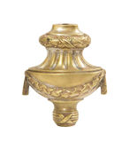 Old brass candle holder on white background Stock Photo