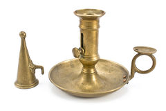 Old brass candlestick with lid Stock Image