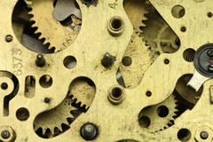 Old brass clock mechanism Stock Photography