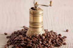 Old brass coffee gringer Stock Images