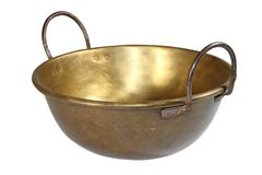 Old brass container over white Stock Photos