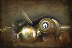 Old brass door knobs Royalty Free Stock Photo