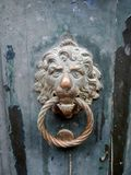 Old brass door knocker, lion`s head, Venice royalty free stock photo