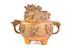 Old Brass Dragon Incense burner Stock Image