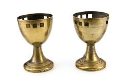 Old brass egg cups Royalty Free Stock Images