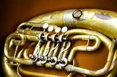 An old brass instrument. 1 stock photography