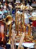 OLd Brass Instruments at Flea Market, Greece Royalty Free Stock Image