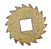 Old brass isolated gear with curved teeths Royalty Free Stock Photo