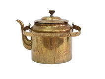 Old Brass Kettle. On white background. Isolated with clipping path stock photography