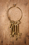 Old Brass Keys. On old wood with nails stock photo