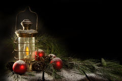 Old Brass Lamp Christmas stock photos