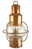 Old brass lantern. With petroleum light Stock Images