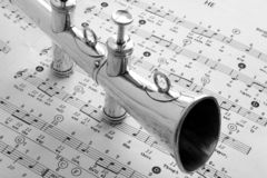 Old Brass Lodge horn 2. An old brass I.O.O.F. Lodge horn with musicial notes, black & white format Royalty Free Stock Photography