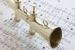 Old Brass Lodge horn Stock Images