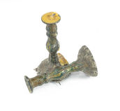 Old brass plated candlestickon white Royalty Free Stock Photography