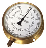 Old brass railway vacuum gauge Royalty Free Stock Photography