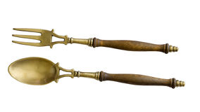 Old brass serving set Royalty Free Stock Photography