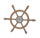Old brass ship wheel isolated. Royalty Free Stock Photo