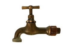 Old brass tap, faucet, isolated over white Royalty Free Stock Images