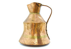 Old brass vessel on white Stock Photography