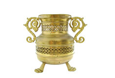 Old brass vessel on white Royalty Free Stock Images