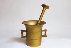 Old brassy mortar Stock Photo