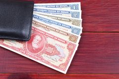 Old Brazilian money in the black wallet Royalty Free Stock Image