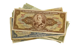 Old brazilian money on white background Royalty Free Stock Image