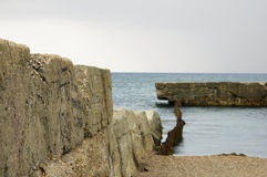 Old breakwater. Near to Evpatoria, Crimea Stock Photos