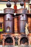 Old brewery. Workshop with black steel vats Stock Image