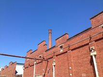 The old brewery. An old abandoned brewery made of red brick Stock Images