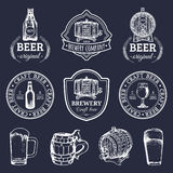 Old brewery logos set. Kraft beer retro images with hand sketched glass, barrel etc. Vector vintage labels or badges. stock illustration