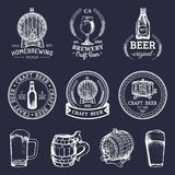 Old brewery logos set. Kraft beer retro images with hand sketched glass, barrel etc. Vector vintage labels or badges. vector illustration