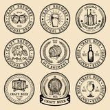 Old brewery logos set. Kraft beer retro signs with hand sketched glass, barrel, bottle etc. Vector lager, ale labels. vector illustration