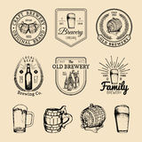 Old brewery logos set. Kraft beer retro signs with hand sketched glass, barrel etc. Vector vintage ale, lager labels. Old brewery logos set. Kraft beer retro vector illustration