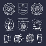 Old brewery logos set. Kraft beer retro signs with hand sketched glass, barrel etc. Vector vintage ale, lager labels. vector illustration