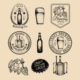 Old brewery logos set. Kraft beer retro signs with hand sketched glass, barrel etc. Vector vintage homebrewing badges. Royalty Free Stock Image