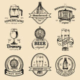 Old brewery logos set. Kraft beer retro signs or icons with hand sketched glass,barrel etc.Vector vintage labels,badges. Old brewery logos set. Kraft beer retro Royalty Free Stock Images