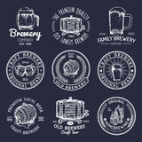 Old brewery logos set. Kraft beer retro signs or icons with hand sketched glass, barrel, mug etc. Vector vintage labels. Old brewery logos set. Kraft beer retro Stock Image