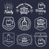 Old brewery logos set. Kraft beer retro signs or icons with hand sketched glass, barrel, mug etc. Vector vintage labels. Old brewery logos set. Kraft beer retro Stock Images