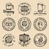 Old brewery logos set. Kraft beer retro signs or icons with hand sketched glass, barrel, mug etc. Vector vintage labels. Old brewery logos set. Kraft beer retro Stock Photo