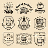 Old brewery logos set. Kraft beer retro signs or icons with hand sketched glass, barrel, mug etc. Vector vintage labels. Old brewery logos set. Kraft beer retro Royalty Free Stock Images