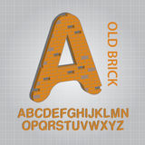 Old Brick Alphabet Vector Stock Image