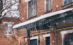 Old brick apartment building in winter Royalty Free Stock Photos