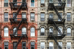 Old Brick Apartment Buildings in New York City. Old Brick Apartment Buildings in the East Village of Manhattan, New York City Royalty Free Stock Photo