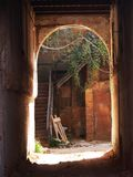 Old brick arch. The solar light at the end of the tunnel Stock Photos