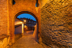 Old brick arch in town of barolo. Royalty Free Stock Photo