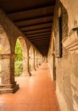 Old cloisters in San Juan Capistrano mission. Old brick arches around the cloisters of the Mission at San Juan Capistrano, California Stock Photos